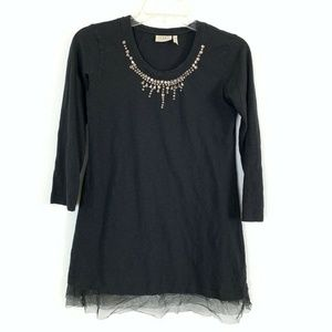 LOGO Lori Goldstein Top XS Black Embellished Jewel